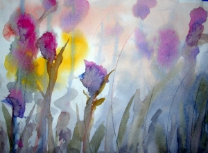 'Sunlight, Thistles and Dew' watercolor by Daniel Morin courtesy Ridgewood Estates.